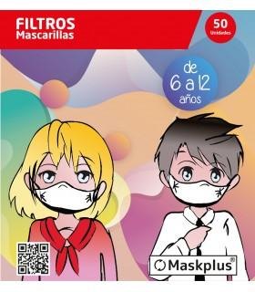 50 Recambios filtro papel mascarilla NIÑOS 6-12 años